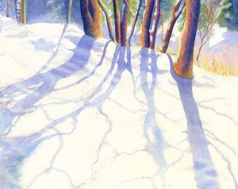 Winter Landscape Watercolor Painting Print by Cathy Hillegas, 16x21, Watercolor Print, snow art, Winter Trees, blue purple red yellow green