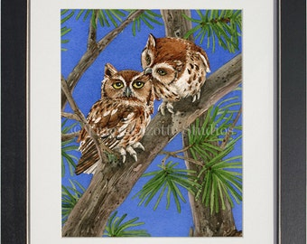 Owl Tree with Screech Owls- archival watercolor print by Tracy Lizotte