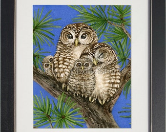 Owl Tree with Spotted Owls- archival watercolor print by Tracy Lizotte