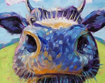 Cow - Cow Art - Cow Print - Paper - Canvas - Wood Block - Giclee Print