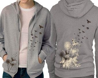 Dandelions Hoodie - Birds Flying - Grey Zip Hoodie - Graphic hoodie, Gift for Him, Gift for Her