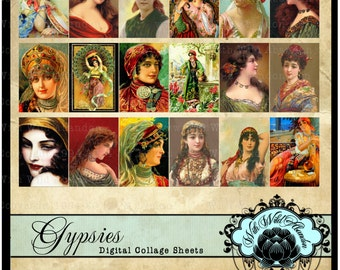 Fortune Teller,Gypsy,Bohemain Digital Collage Sheets, Vintage Postcard, ACEO, Hang Tags, Truth Cards, Altered Art,  Illustrations
