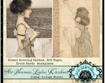 Vintage Illustrations, Art Nouveau, HangTag, Raphael Kirschner,ACEO, ATC, DIY Greeting Card