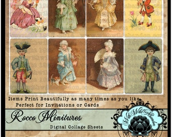 Rocco Children, Young Marie Antoinette Digital Collage Sheet  with ACEO or ATC Size