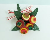 Handmade Vintage Button Bouquet, 5 Tiny Flowers in Red, Yellow, Orange, Gold and Dark Green