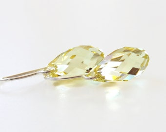 Yellow crystal teardrop earrings - Bridesmaid Jewelry - yellow earrings - Swarovski crystal