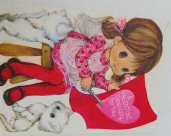 Vintage Valentine Card, Unused Valentine Card, Hallmark Valentine, Retro Valentine Card, Girl Valentine Card, 1960s Valentine, Big Eyed Girl