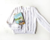 Vintage 50s Cardigan / Popcorn Sweater / White Cardigan / 1950s Sweater / S M