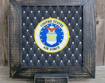 Framed US Air Force Emblem Patch Stitchery, Military, United States, White, Blue, Gold, Eagle, Stars, Handmade, Retirement Gift, Veteran