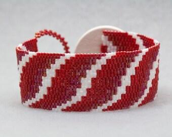 Beaded Cuff Bracelet - Bargello Ribbon Stripes Red White University of Wisconsin UW Badgers by randomcreative on Etsy