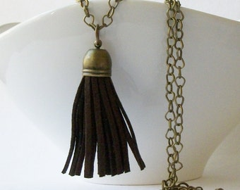 Brown Faux Leather Brass Tassel Necklace