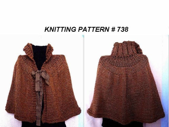 How To Knit A Poncho For Beginners Pattern : KNITTING PATTERN cape poncho shawl Wrap Beginner level