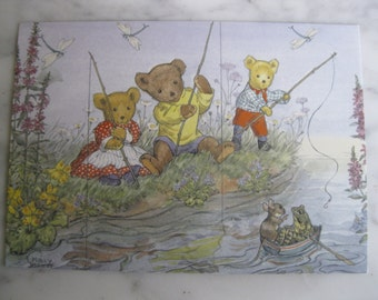 Vintage Medici Society Postcard. Signed Molly Brett. Teddies Fishing.