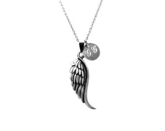 Angel Wing Necklace, Engraved Name Necklace, Initial Necklace, Custom Monogram Necklace, Stainless Steel Necklace, Personalized Jewelry