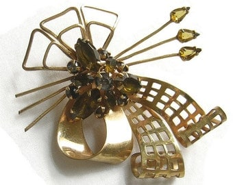 Vintage 1940s Gold Filled Amber and Topaz Rhinestone, Layered Retro Bow Brooch Pin or Pendant signed M&S