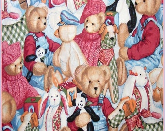 "Toys Teddy Bears Rabbits Cotton Fabric 1/2 Yard 18"" x 44"""