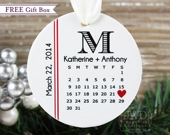 Personalized Wedding Gift Engagement Gift Newlywed Ornament Bride and Groom Gift Personalized Ornament Monogram Wedding Gift - Item# WDC-M-O