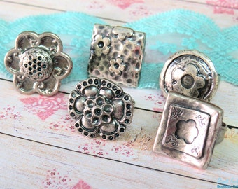 SALE 5 Silver plated ring blanks , square , round & flower blank ring settings , Boho style oxidized rustic adjustable wide band - B