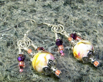 BirdDesigns Handmade Lampwork Earrings - ooak - J755
