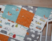 ORGANIC quilted patchwork baby blanket- camp sur, feather river, fish, fox, trees- ready to ship