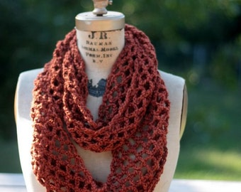 Circle scarf Infinity scarf, cowl, copper lacy scarf