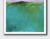 """Contemporary Landscape Print, 14""""H x 11""""W Large Print, Vermont, Pond, Water, Green, Mountains, New England, Wall Decor"""
