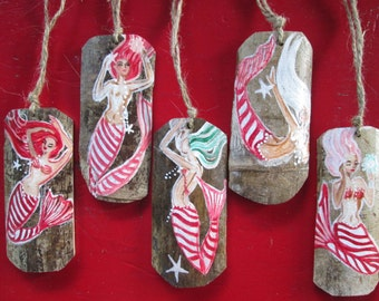 Five Candy Cane Holiday Mermaid Ornaments - wooden ornaments for Holiday decor