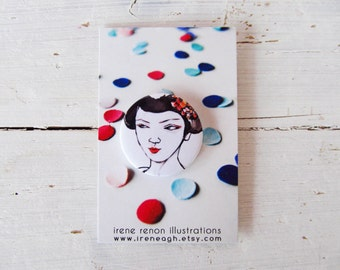 Geisha pin, illustrated button brooch in black & white