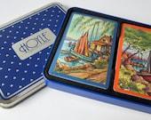 Sailboat Ocean Harbor Double Deck Playing Cards Sealed Hoyle Tin Box England