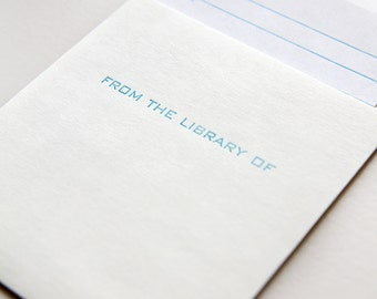 library card and pocket set of 5 - letterpress printed