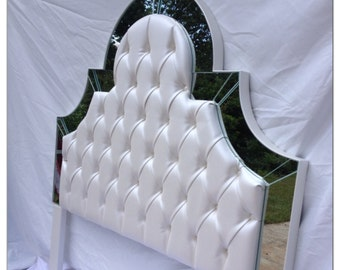 Twin Size Ivory Morning Sun Upholstered Headboard with Mirrors