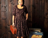 Miss Katrina Travels Abroad - Embroidered wool dress with scoopneck and full circle skirt ~ 1/2 sleeves and pockets