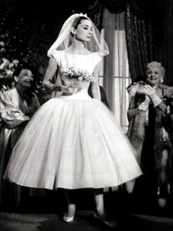 Miss Audrey in Funny Face - Custom Reproduction tea length Wedding Gown in satin and silk organza