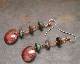 Turquoise and Hand Forged Earrings