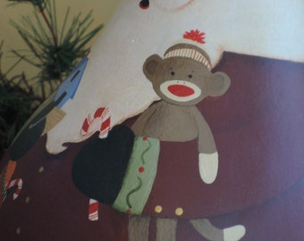 Gourd Santa with a Sock Monkey