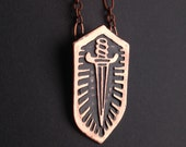 Shield Pendant - Etched Copper  - Single Dagger - handmade from copper in my studio - Pick one - by Jamie Spinello - handmade in Austin, Tx