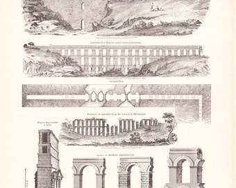 1894 Architecture Print - Aqueduct - Vintage Antique Art Illustration History Geography Great for Framing 100 Years Old