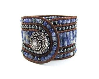 Sodalite Gemstone Beaded Leather Cuff Bracelet, Handmade, 5 rows, with Hematite, Dark Natural leather Cord