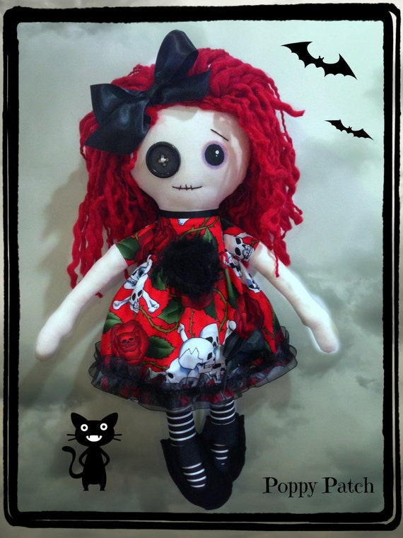 Handmade Gothic Harajuku Fashion W H Naoto Spiderweb Bag: Ready To Ship Handmade Gothic Cloth Doll