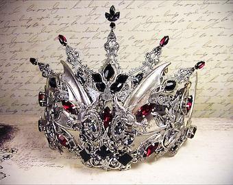 Dark Witch Costume Tiara, Fantasy Headpiece, Custom Halloween Costume, Gothic Wedding, Goth Headpiece, Crown, Dragon