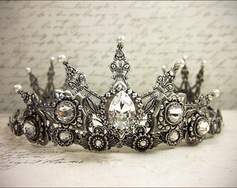 Renaissance Bridal Tiara, Medieval Wedding, Bridal Headpiece, Custom Tiara, Tudor Costume, Ren Faire Wedding, Handfasting, Avalon Tiara