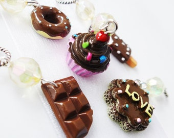 Chocoholics Anonymous - Five Handmade Stitch Markers - Fits 5.0mm (8 US) To 9.0 mm (13 US) - Limited Edition