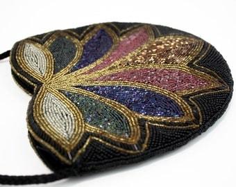 Heavy Sequined Multi Color Oversize Vintage Evening Bag
