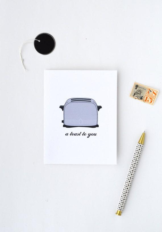 congratulations card, retro card, happy birthday card, congrats card, funny card, toaster card