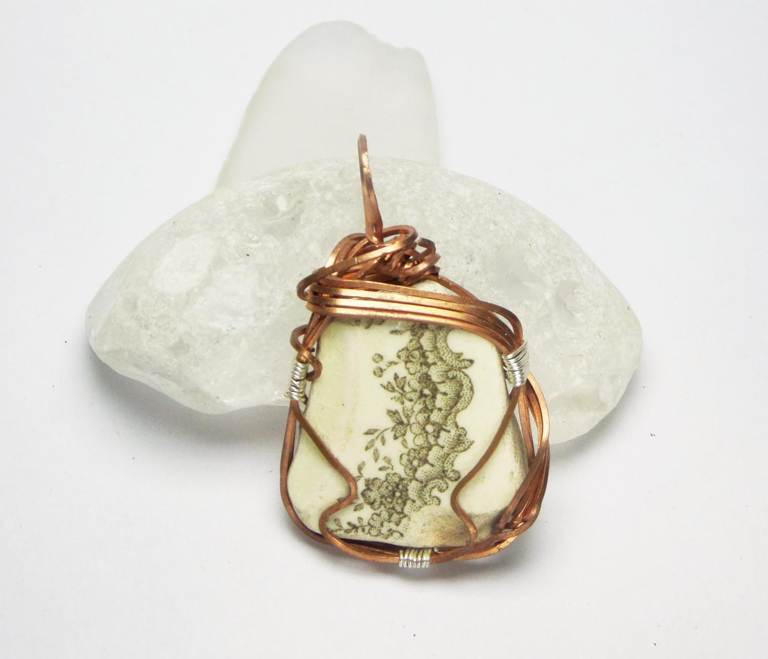 Wire wrapped copper jewelry English sea glass sea by ...