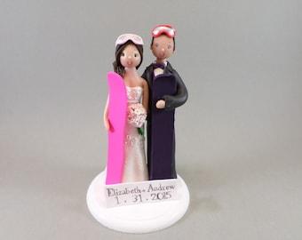 Custom Snowboard/ Ski Theme Wedding Cake Topper