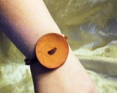 Button Bracelet Orange Reclaimed Coconut and Leather Band