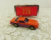 1982 Hot Wheels Camero Z28, Orange Camero Mattel Hot Wheels Park N Plates Collectors Case, Orange Z28 Die Cast Car