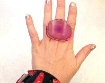 Handmade ring Up-cycled ring Oversized ring Chunky ring Raw Crystal ring pink ring magenta ring geode ring Statement ring Adjustable ring