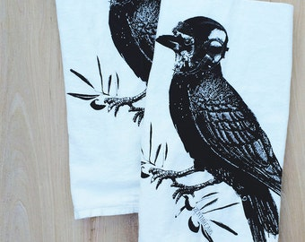 Set of 2 - RAVEN Aviator - Multi-Purpose Flour Sack Bar Towels - Renewable Natural Cotton
